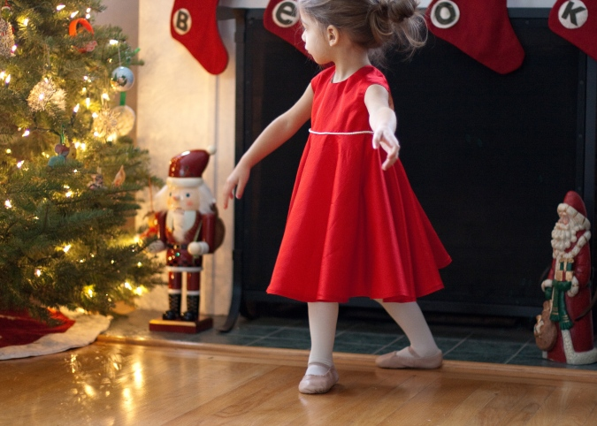 twirly red christmas dress