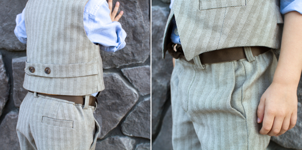 herringbone art museum vest and trousers // skirt as top